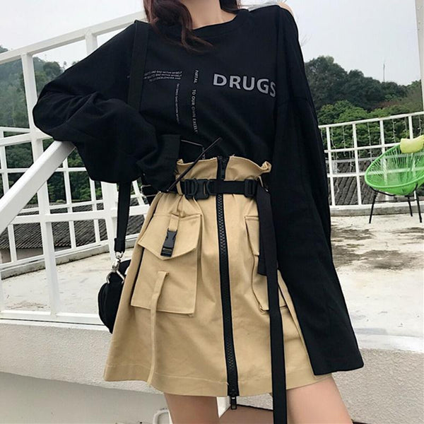 2 PIECE SET BACKLESS LONG SLEEVE T-SHIRT + HIGH WAIST TOOLING SKIRT