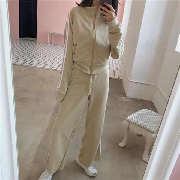 2 PIECE SET SPORT STYLE LINES LONG FLARED PANTS BLACK BEIGE SUIT