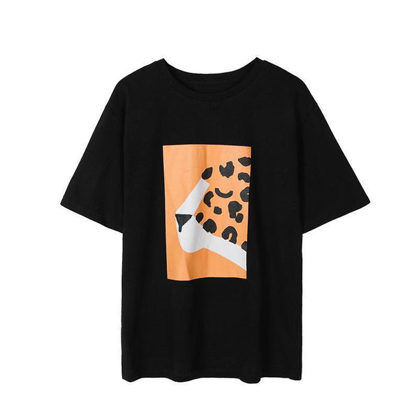 ABSTRACT FRONT PRINTED BLACK WHITE OVERSIZED T-SHIRT