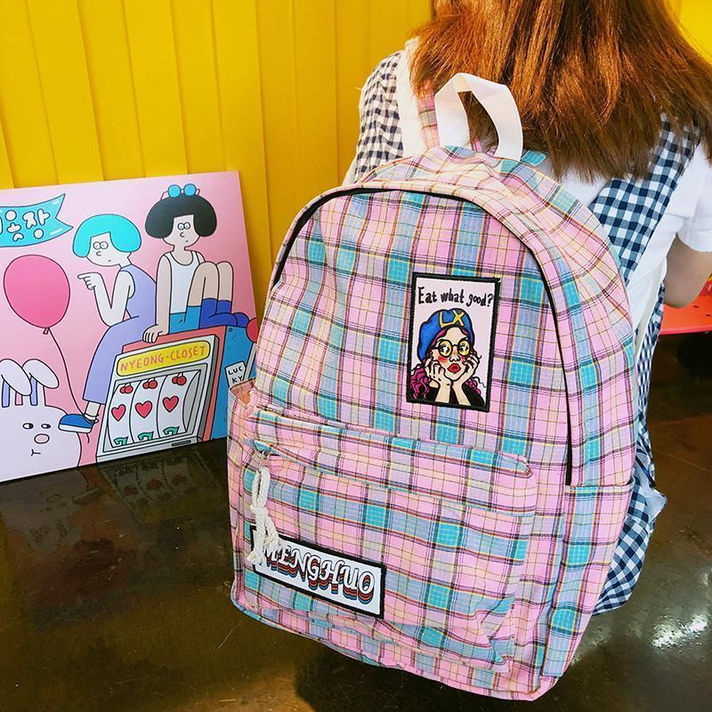 AESTHETIC COLOURSFUL PLAID GIRLS DRAWINGS SCHOOL BACKPACKS