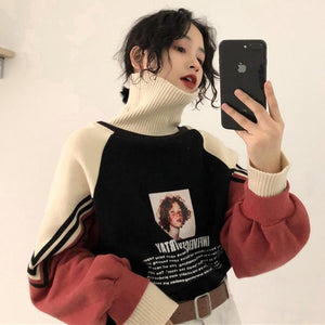 AESTHETIC GIRL PRINT THICK HIGH COLLAR KNITTED SWEATER