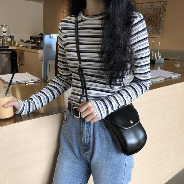 AESTHETIC THIN STRIPES ROUND NECK KNITTED SLIM BLOUSE