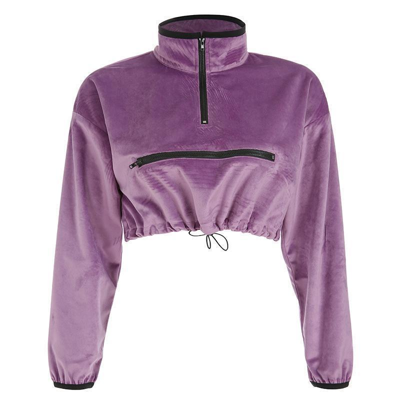AESTHETIC VELVET PURPLE CROPPED SWEATSHIRT