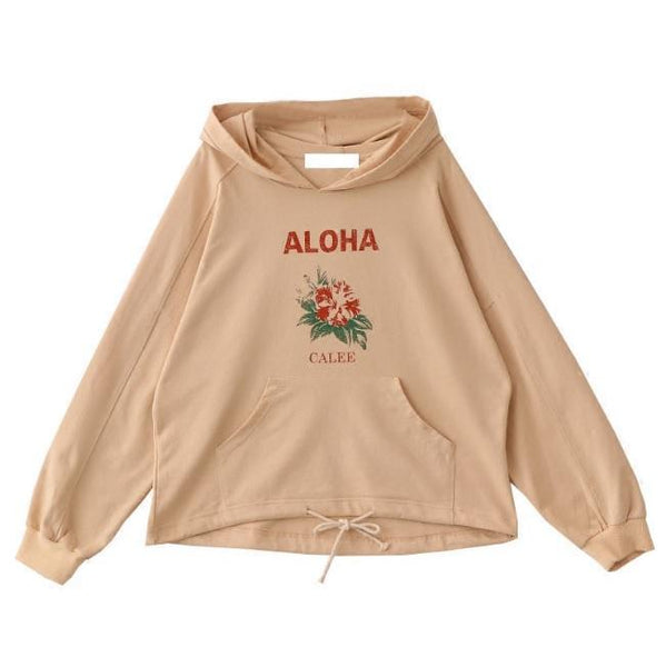 ALOHA RED FLOWER CALEE PRINT BEIGE LONG SLEEVE HOODIE