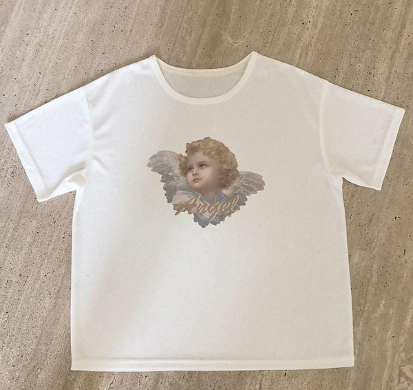 ANGELS PRINT WHITE OVERSIZED AESTHETIC T-SHIRT