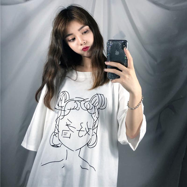 ANIME LINE DRAWING JAPANESE CHARACTERS OVERSIZED WHITE T-SHIRT