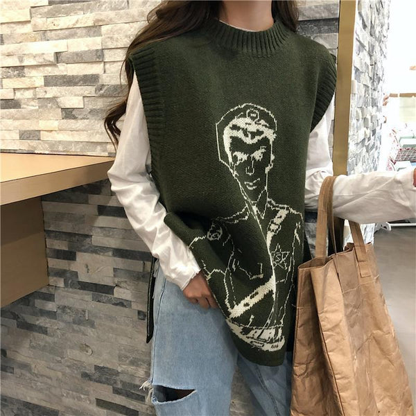 ANIME MILITARY MAN KNIT SLEEVELESS VEST SWEATER