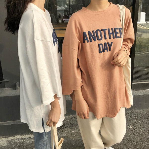 ANOTHER DAY OVERSIZED LETTERS LONG COTTON T-SHIRT
