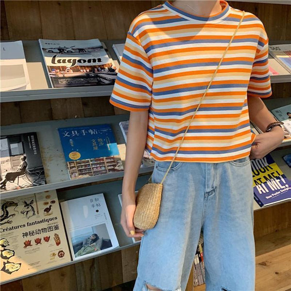 APRICOT STRIPES SUMMER AESTHETIC LOOSE T-SHIRT