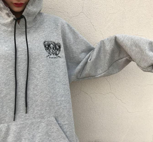 ARE YOU SERIOUS LETTERS PRINTED GRAY BLACK OVERSIZED HOODIE