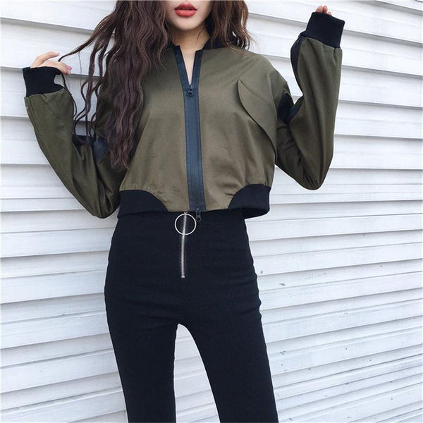 ARMY GREEN BEIGE SATIN CROP RACER PATCHWORK ZIPPER JACKET
