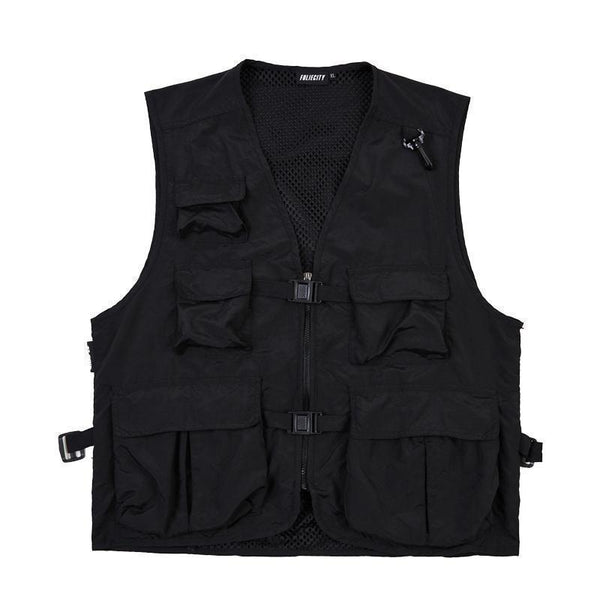 ARMY GREEN BLACK KOREAN AESTHETIC CARGO VEST