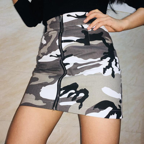 ARMY PATTERN BW KHAKI PENCIL TUBE FRONT ZIPPER SKIRT