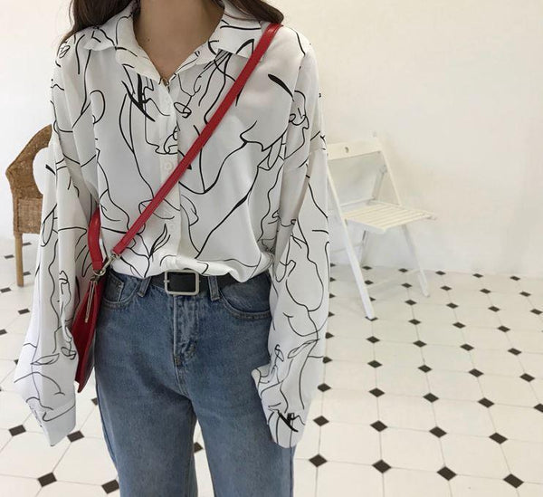 ART ABSTRACT LINES LOOSE BLOUSE