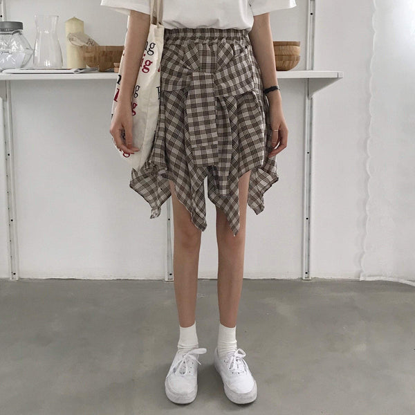 ASYMMETRIC PLAID ELASTIC WAIST SKIRTS