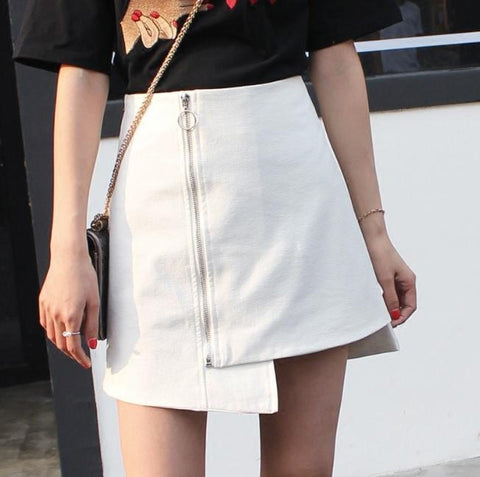 ASYMMETRIC SIDE ZIPPER WHITE BLACK ELEGANT SKIRT