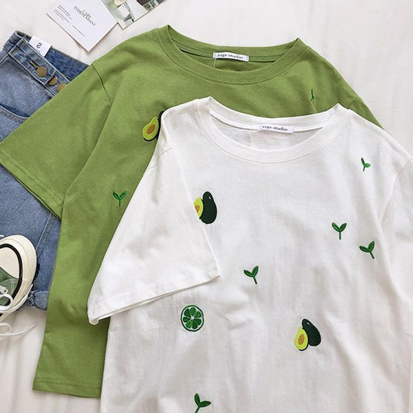 AVOCADO AND PLANTS EMBROIDERY OVERSIZED T-SHIRT