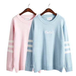 BABY LETTER STRIPED SLEEVE LOOSE SWEATER
