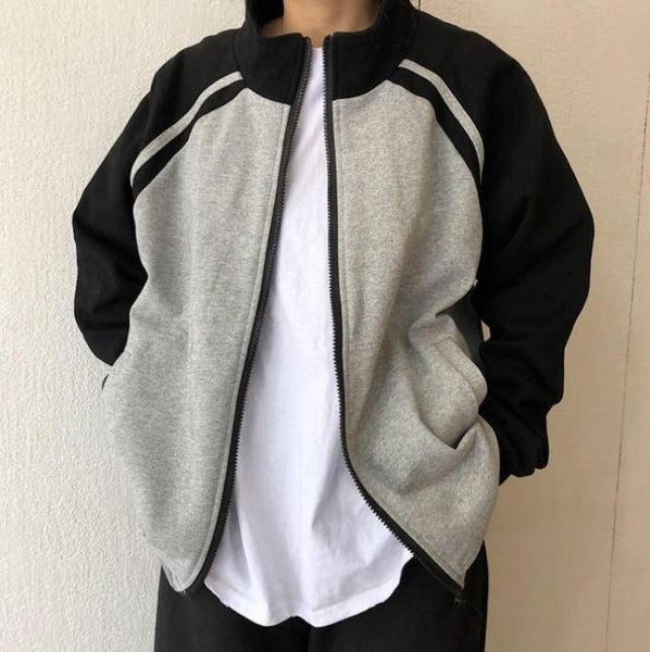 BASEBALL UNIFORM OVERSIZED ZPPER SWEATSHIRT