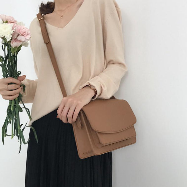 BASIC BEIGE BLACK LEATHER PU FLAP CROSSBODY BAG