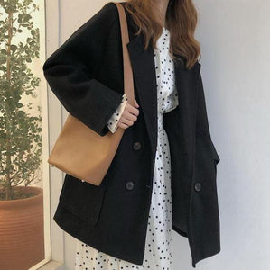 BASIC BEIGE BLACK OVERSIZED WOOLEN COAT JACKET