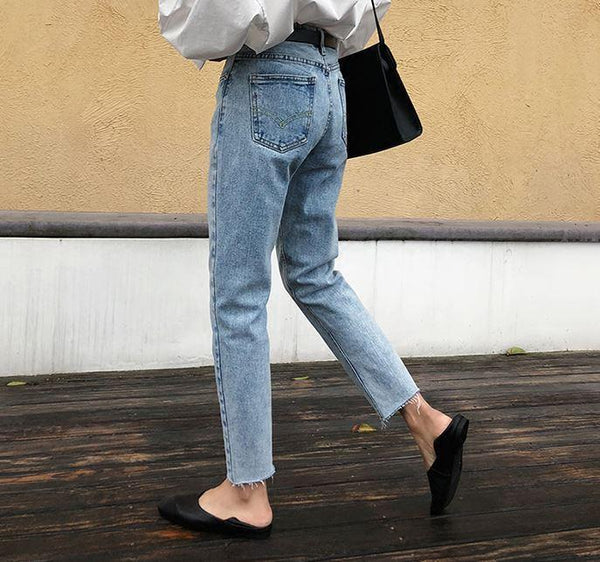 BASIC BOYFRIEND DENIM HIGH WAIST BLUE JEANS