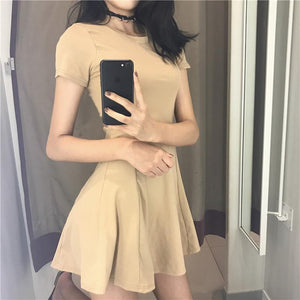 BASIC COTTON SHORT SUMMER SLIM SEWED DRESS
