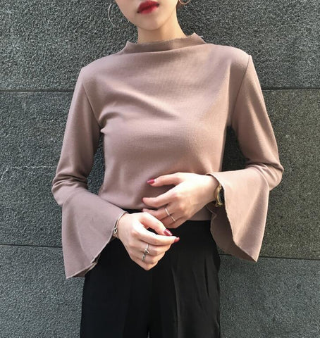 BASIC FLARED LONG SLEEVE PASTEL COLOR BLOUSE