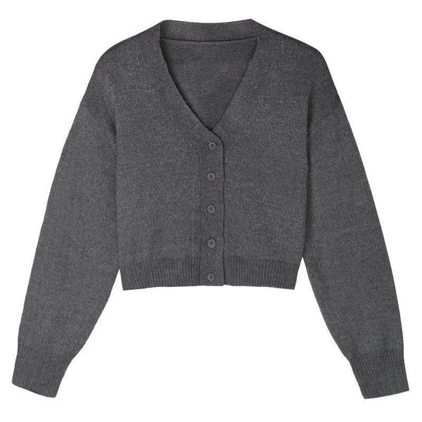 BASIC KOREAN AESTHETIC SOLID COLORS KNITTED V-NECK CARDIGAN