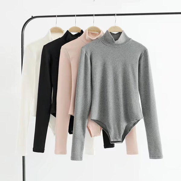 BASIC LONG SLEEVE HIGH NECK COTTON SLIM BODYSUIT
