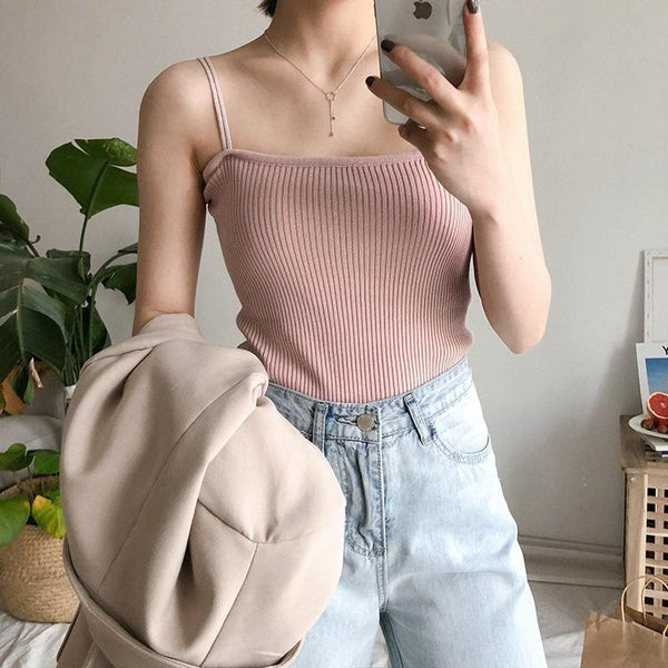 BASIC SLIM THIN STRAPPS KNIT PASTEL COLOURS SLEEVELESS TOPS