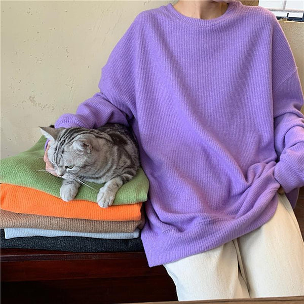 BASIC SOLID COLORS ROUND NECK LOOSE KNITTED PULLOVER