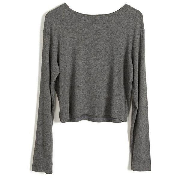 BASIC SOLID COLORS THIN CROPPED LONG SLEEVE