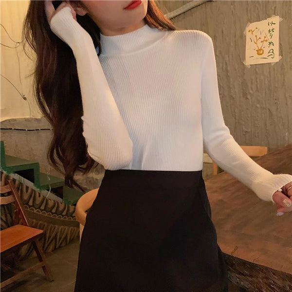 BASIC SOLID COLORS TURTLE NECK RIBBED BLOUSE