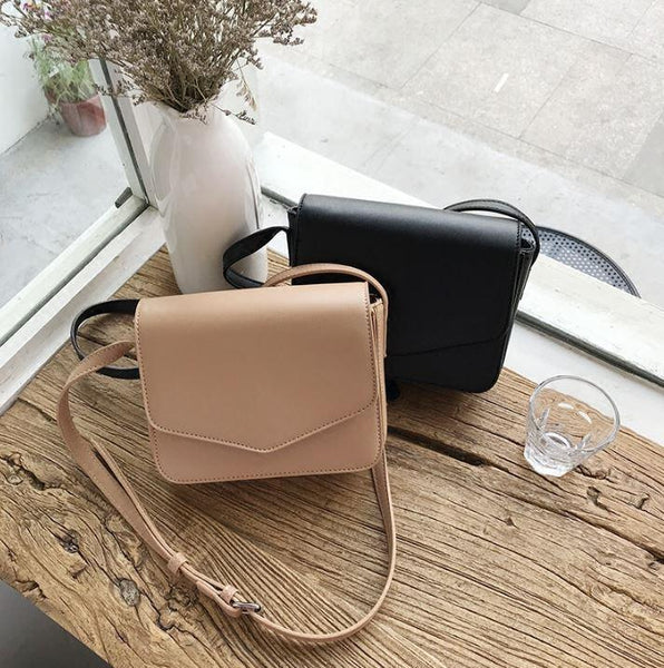 BASIC SQUARE FLAP LEATHER PU BEIGE BLACK SHOULDER BAG