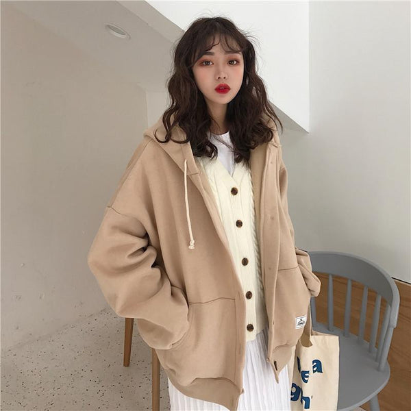 BEIGE BUTTONS LOOSE HOODED SWEATER
