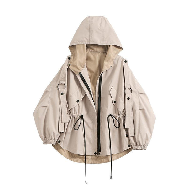 BEIGE HOODED WINDBREAKER ELASTIC WAIST JACKET