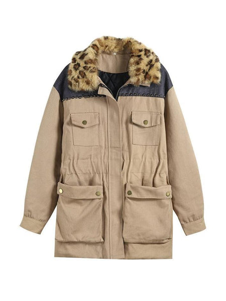 BEIGE LEOPARD COLLAR ELBOW PATCHES ELASTIC WAIST HOODED COAT