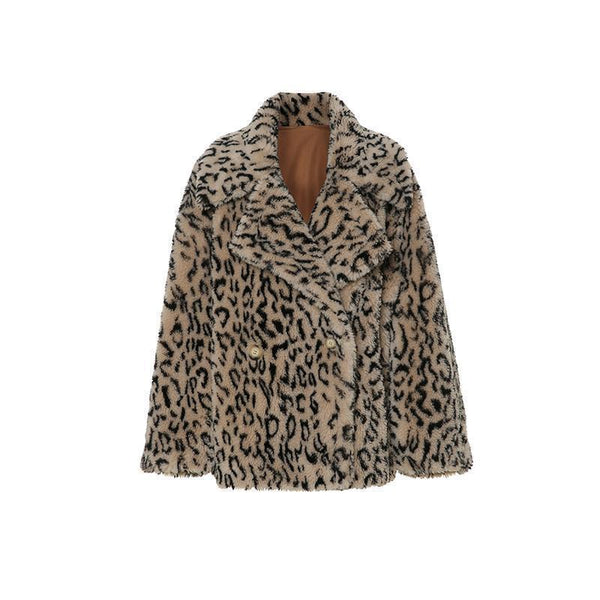 BEIGE LEOPARD PRINT WARM PLUSH OUTWEAR JACKET