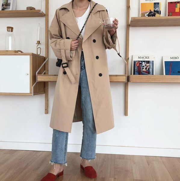 BEIGE RETRO DOUBLE BREASTED LONG TRENCH COAT