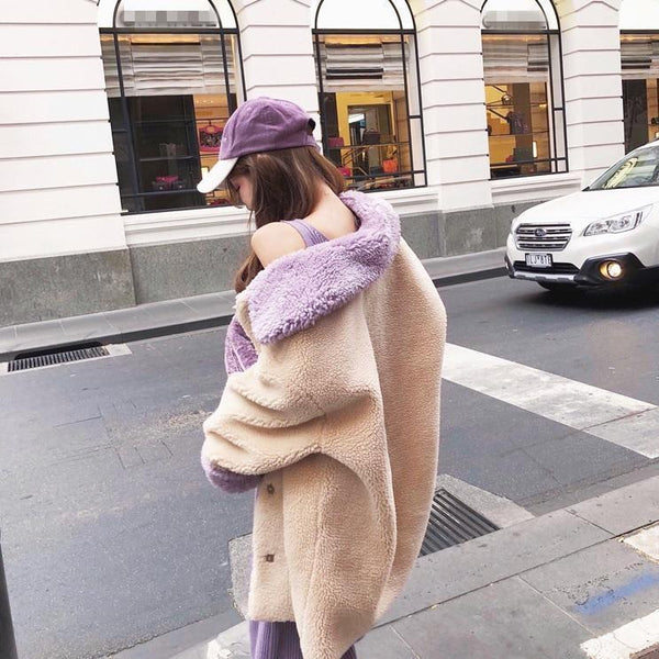 BIEGE LILAC COLLAR WARM PLUSH OUTWEAR JACKET