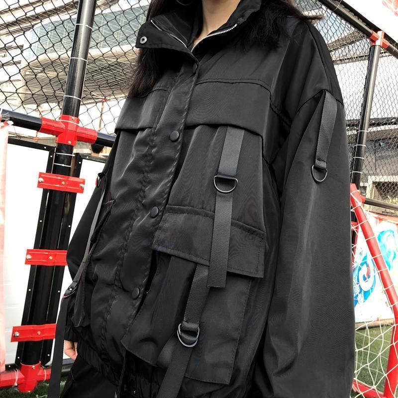 BIG POCKETS LOOSE BLACK AESTHETIC JACKET + CARGO PANTS