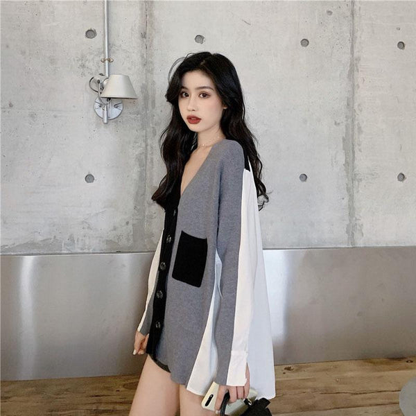 BLACK AND WHITE STITCHING BACK CHIFFON V-NECK CARDIGAN