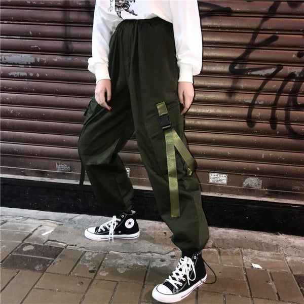 BLACK ARMY GREEN BIG POCKETS LOOSE HIGH WAIST RETRO PANTS