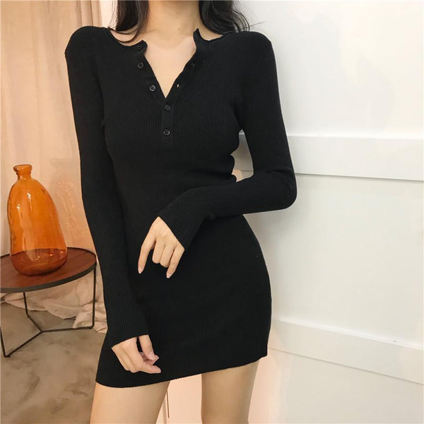 BLACK ARMY GREEN COLLAR BUTTONS COTTON KNIT ABOVE KNEE DRESS