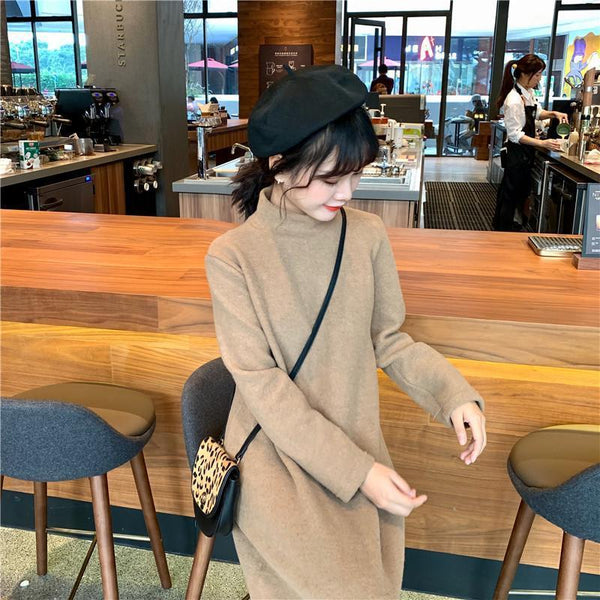BLACK BEIGE TURTLE NECK LONG SOFT LOOSE DRESS