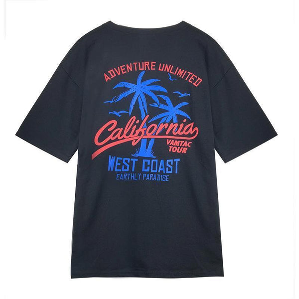 BLACK CALIFORNIA BACK PRINT LOOSE T-SHIRT