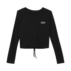 BLACK DRAWSTRING TIE LONG SLEEVE CROPPED TOP