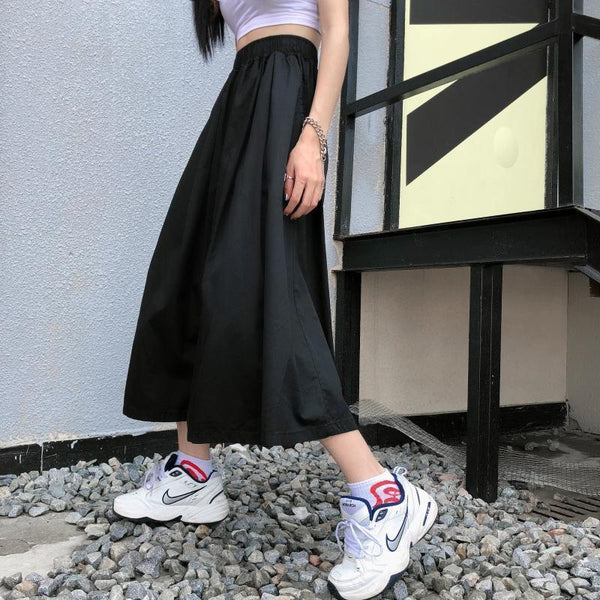 BLACK ELASTIC WAIST ULZZANG LOOSE WIDE PANTS