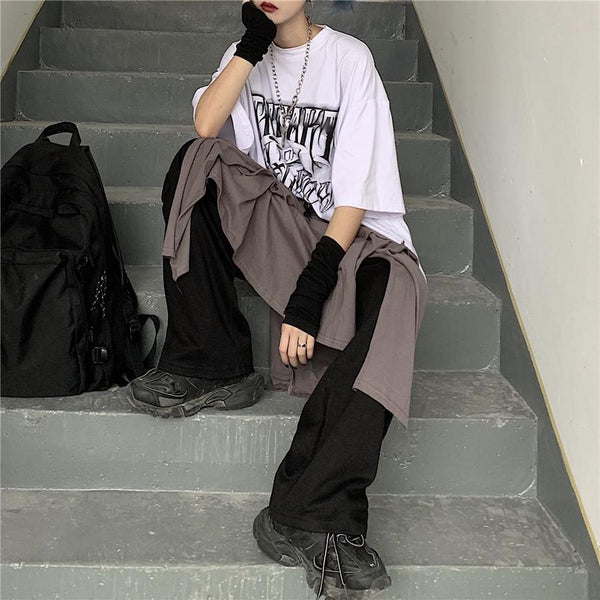 BLACK FAKE SHIRT GRUNGE AESTHETIC LOOSE WIDE PANTS